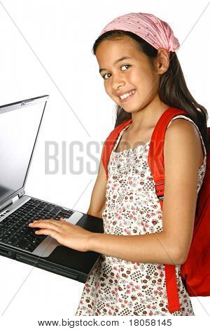 Young school girl with red rucksack and laptop in hand, isolated.