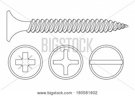Wood screw. Outline icon. Phillips, frearson and slotted flat heads. Vector illustration isolated on white background
