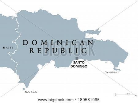 Dominican Republic political map with capital Santo Domingo. Caribbean country on the Hispaniola island in the Greater Antilles archipelago. Gray illustration over white. English labeling. Vector.