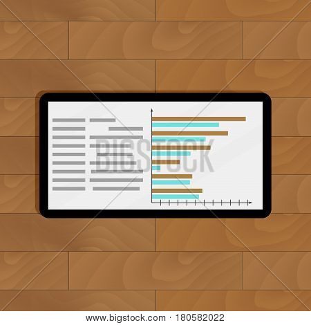 Tablet with page statistics. Infochart on tablet computer vector illustration