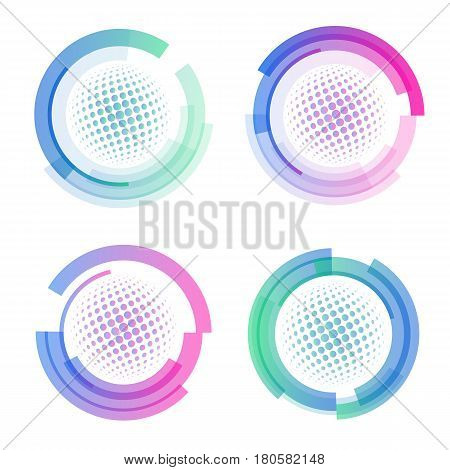Isolated abstract colorful round shape logo set, circular frames logotypes collection, golf balls icons on white background vector illustration.