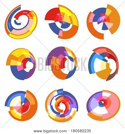 Isolated abstract colorful pie chart logos set, round shape diagram logotypes collection, infographic element vector illustration.