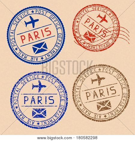 Collection of PARIS postal stamps partially faded on beige paper background. Vector illustration