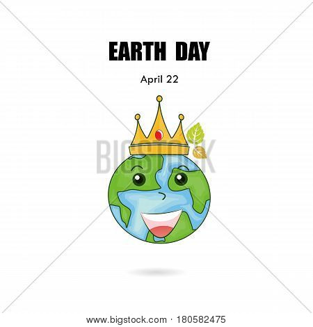 Globe sign & crown vector logo design template.Earth Day icon.Earth Day cartoon mascot character.Earth Day idea campaign concept for greeting cardposterflyercover or brochure.Vector illustration