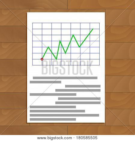 Business document on table. Infochart and infographic report economic infograph vector illustration