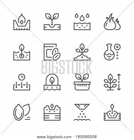 Set line icons of seed and seedling isolated on white. Vector illustration