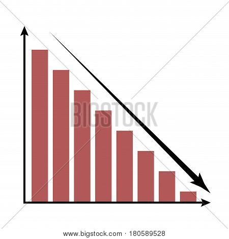 Crisis icon chart. Economic trend crisis report vector illustration