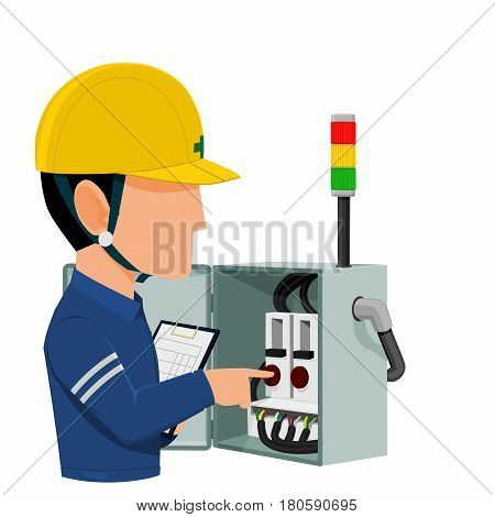Electrical auditor is auditing the electric cabinet