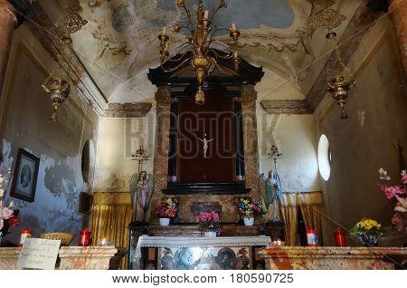 CAMERI ITALY - MARCH 7 2016: altar in the old chapel at Villa Picchetta Renaissance patrician residence