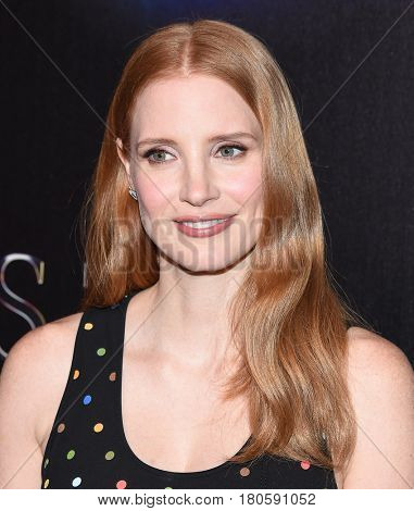 LOS ANGELES - MAR 28:  Jessica Chastain arrives for the CinemaCon 2017-STX Films