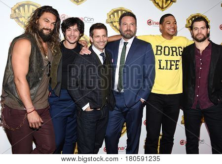 LOS ANGELES - MAR 29:  Zack Snyder, Jason Momoa, Ezra Miller, Ben Affleck, Ray Fisher and Henry Cavill arrives for the CinemaCon 2017-Warner Brothers on March 29, 2017 in Las Vegas, NV
