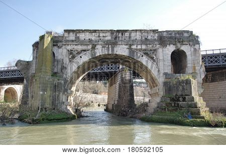 Ponte Rotto ancient destroyed bridge from the Tiber Island Rome Italy