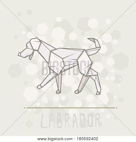Vector simple illustration paper origami of dog labrador.