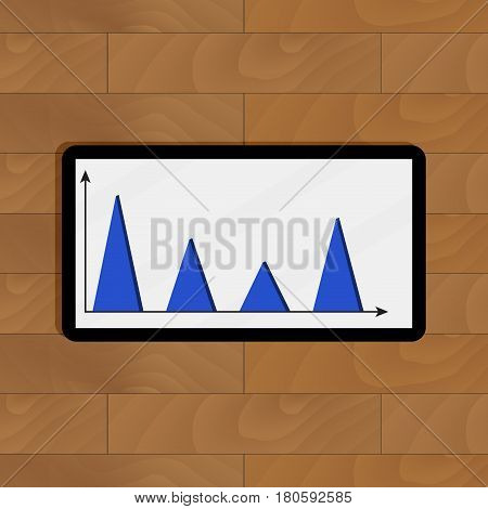 Top view presentation on tablet. Finance data infochart visualization diagram and graph vector illustration