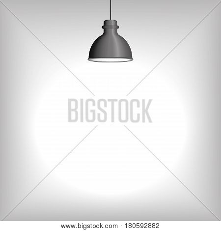 Ceiling lamp, illuminating the grey blank wall. Vector illustration for Your design or insertion or mounting.