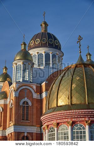 Early morning. Golden domes of the St. Pokrovsky Cathedral of the Orthodox Church in Kiev