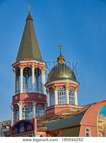 Early morning. Golden domes of the Small Pokrovsky Temple of the Orthodox Church in Kiev