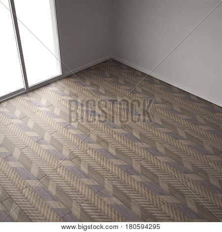 Empty room with wooden parquet floor diagonal herringbone minimalist interior design colored tiles top view, 3d illustration