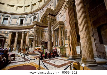 Pantheon, Rome, Italy - July 10. 2012.:Altar inside the Pantheon on July 10.  2012. The Pantheon is a famous church in Rome, built in the 2nd century.