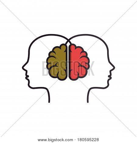 brain human with human profile creative icon vector illustration design