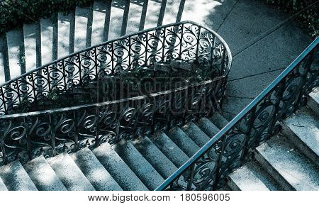 view of a staircase in cold tones