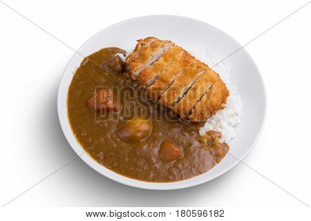 Curry rice with fried pork. Japanese food Tonkatsu curry rice. On white isolated.