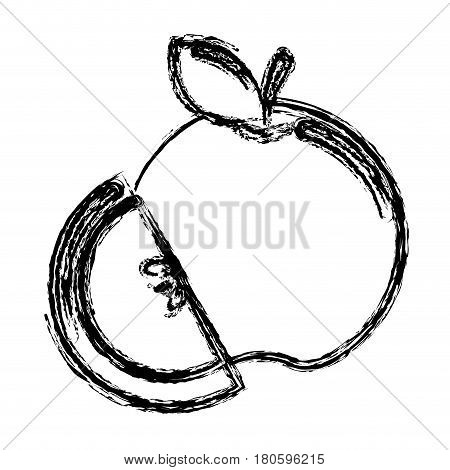 contour apple fruit icon stock, vector illstration design image