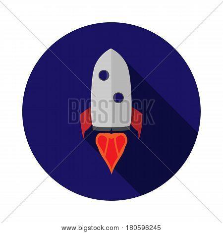 Vector image of rocket on round base