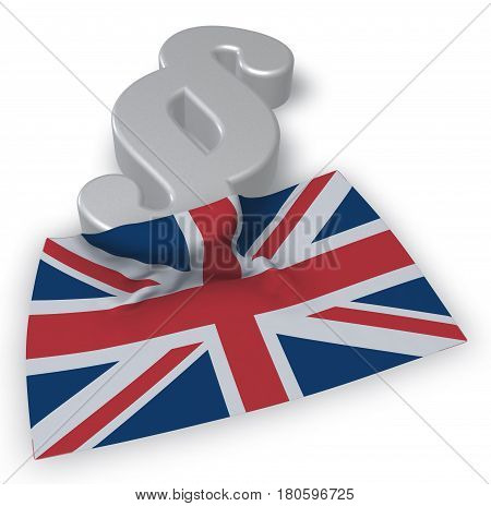 paragraph symbol and flag of the uk - 3d rendering