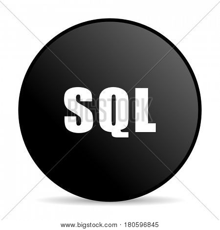 Sql black color web design round internet icon on white background.