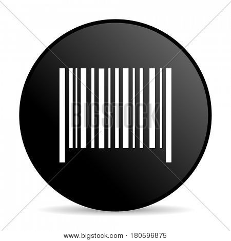 Barcode black color web design round internet icon on white background.