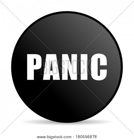 Panic black color web design round internet icon on white background.