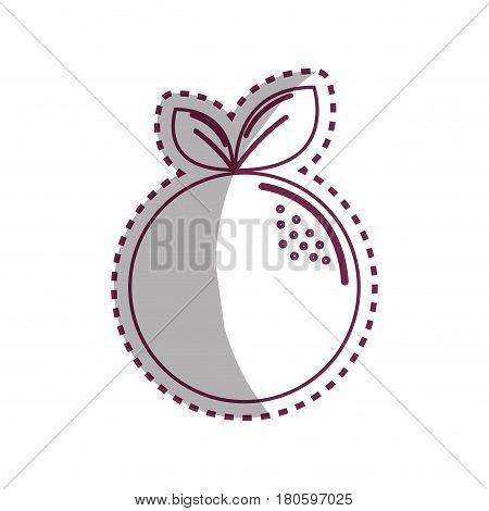 sticker silhouette orange fruit icon stock, vector illustration design image