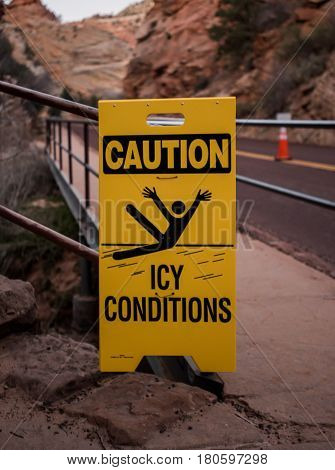 Caution Icy Conditions Sign along trailhead access