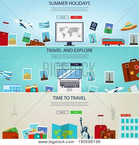 Three Travel and Tourism Headers, Banners. Summer holidays, travel and tourism concept. Website templates. Vector illustration