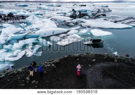 Aerial View Of Icebergs Floating In Jokulsarlon Lagoon By The Southern Coast Of Iceland
