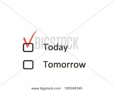 Today check box checked by red pencil