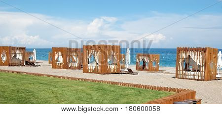 Kemer Turkey - May 30 2015: View of the beach with stylish tents in a high class hotel Maxx Royal Turkey.