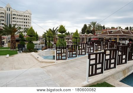 Side, Turkey - June 02, 2015: View of the territory and the bridge through the pool in Kamelya World Hotel, Turkey.