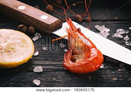 Boiled shrimp on the table. Shrimp close-up