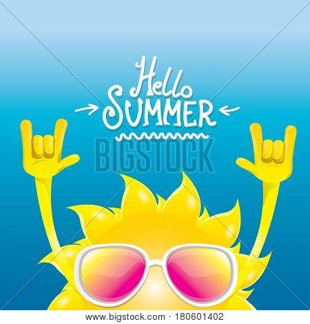 hello summer rock n roll poster. summer party design template