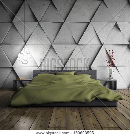 Minimalistic bedroom with designer concrete wall. 3D illustration.