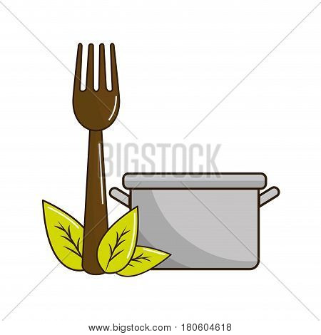 pot kitchen with fork tool and leaves, vector illustration