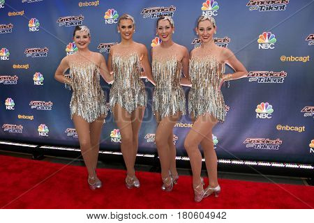 NEW YORK-AUG 11: Members of The Rockettes attend the 'America's Got Talent' season 10 taping at Radio City Music Hall on August 11, 2015 in New York City.