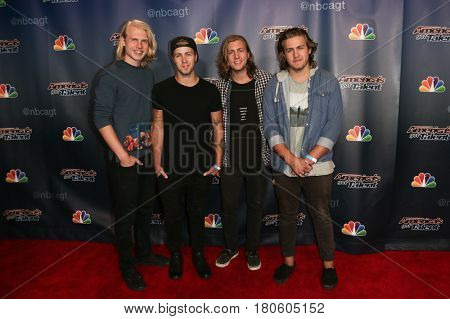 NEW YORK-AUG 12: 3 Shades of Blue attend the 'America's Got Talent' Season 10 Results Show at Radio City Music Hall on August 12, 2015 in New York City.
