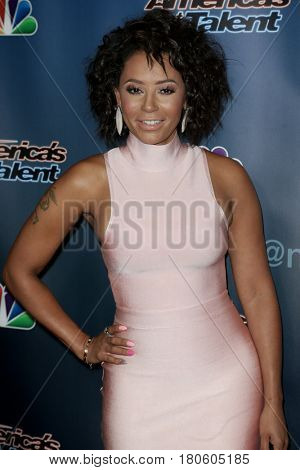 NEW YORK-AUG 12: Singer Mel B attends the 'America's Got Talent' Season 10 Results Show at Radio City Music Hall on August 12, 2015 in New York City.
