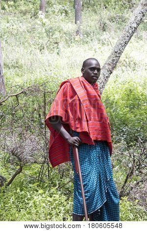 Maasi Warrior, Ngorongoro Conservationa Area, Tanzania, Ngorongoro Conservationa Area, Tanzania