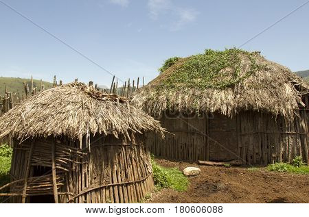 Thatched Maasai Huts In Village