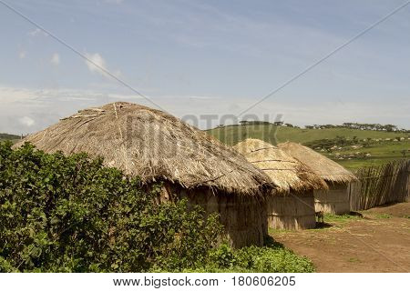 Maasai Huts In Village