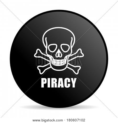 Piracy skull black color web design round internet icon on white background.